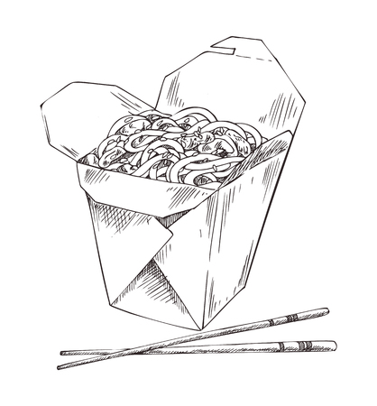 Packed noodle and chopsticks vector illustration of fast food isolated on white backdrop, tasty pasta with meat pieces sesame, wooden tools for eating Illustration