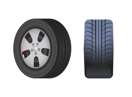 Rubber wheel for car vector isolated icon. Black tyre in side and front view. Modern automotive equipment for mechanic store or repair service shop Illustration