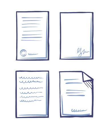 Paperwork Documents Line Art Icons in Sketch Style