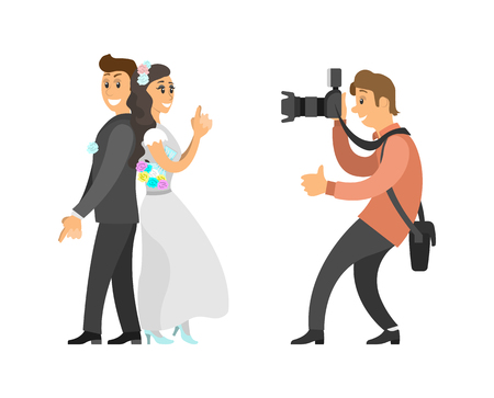 Wedding photo session of newlyweds by photographer. Groom in suit and bride wearing gown, funny spy pose, digital camera vector illustration isolated.