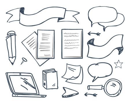 Office paper and pencil with pin icons vector. Banners and ribbon for text cursor and laptop screen, pages and documents. Memo notes, magnifying glass Illustration