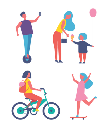 People playing in entertainment park cartoon vector set. Mom and daughter with ice cream and balloon, girl riding bike and skateboard, boy on unicycle