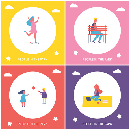 Kids have fun, resting and relaxing in park isolated vector cartoon banner set. Girl riding on skateboard, boy having rest on bench and couple playing