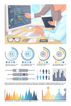 Infographics, analyzed data by office workers pointing to presentation vector. Visual information, pie diagrams and schemes with numeric info data