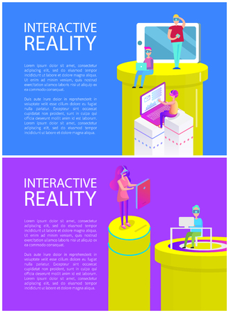 Interactive Reality Man Set Vector Illustration Banque d'images - 115276267