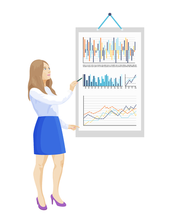Infographics and infocharts on board paper poster vector. Presentation and analyzing of results, business graphics and schemes with visual information