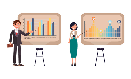 Presenters businesswoman and businessman on seminar giving presentation vector. Conference analyzing results and data. Explanation of strategy plan Illustration
