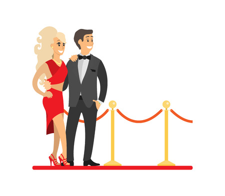 Famous celebrities couple on red carpet. Woman in dress near man wearing tuxedo, actress and actor, singer or superstar vector illustration isolated.