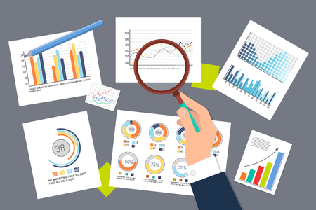 Infographics and schemes researching analysis vector. Businessman using magnifying glass, statistics organization, in flowcharts, pie diagrams on pages Vettoriali