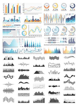 Grafiken und Flussdiagramme, Schemata und Diagramme stellen Vektor ein. Monochrome Skizzen skizzieren Infocharts und Infografiken. Tortendiagramme und Zahlenfiguren