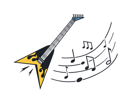 Electric Guitar Musical  Instrument with Notes