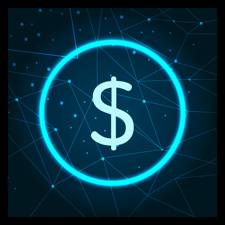 Dollar American currency USA coin circled icon vector. Commerce and business, cryptocurrency and banking online. Finance and virtual money profit Illustration