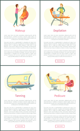 Makeup visagiste and tanning, posters set with text and clients relaxing vector. Beauty procedures, depilation and pedicure service by pedicurist Illusztráció