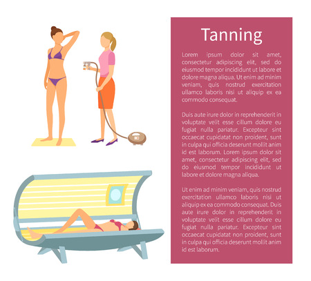 Tanning spa salon procedure for woman. Poster with text sample and specialist with sprayer, client in solarium, sun parlor gaining skin color vector Ilustracja