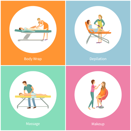Body wrap and wax depilation, back massage and makeup in beauty saloon isolated circles. Spa salon with cosmetic procedure cartoon banners vector set  イラスト・ベクター素材