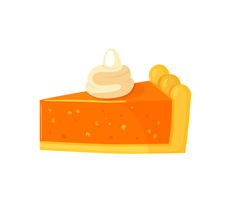 Dessert piece of pumpkin cake with cream on top isolated icon vector. Food to celebrate thanksgiving day. Harvesting autumnal period homemade meal