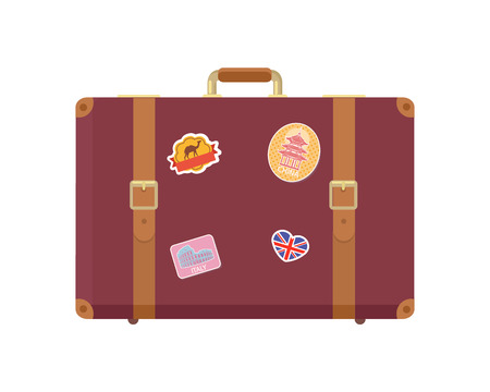 Luggage decorated with stickers of landmarks and famous sights set vector. Vacation bag for things of travelers. Baggage with United Kingdom flag