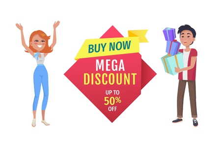 Buy now with mega discount vector label with promo phrase. Special offer for exclusive products banner with customers holding presents or gifts heap.