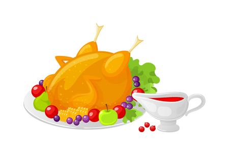 Bird poultry cooked meal on Thanksgiving isolated vector. Meat stuffed with fruits and vegetables, apples and grapes berries and sauce poured in pot 일러스트