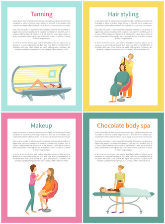 Tanning and hair styling procedure posters set with text sample vector. Visage and makeup, tan gaining in solarium, professional care of specialists