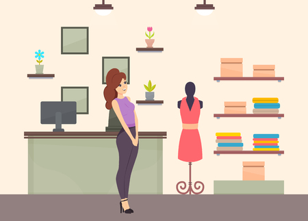 Shopping woman in clothes store, ladies boutique with cloth and fashionable dress on mannequin vector. Counter with computer, houseplants and pictures Çizim