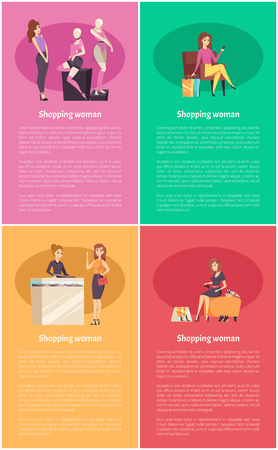 Shopping females in shops posters with text sample set vector. Woman looking at mannequins with clothes, lady relaxing on armchair. Jewelry store