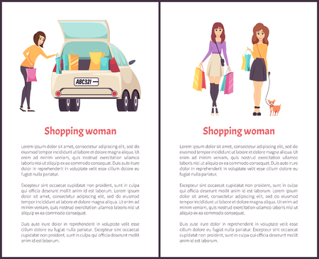 Shopping woman female lady walking with bags shoulder vector. Female puts purchases into car. Shopper with bought items, friends with pet sale poster