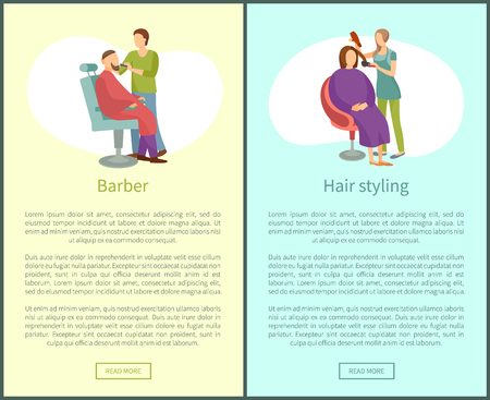 Barber shop and hair styling web posters hairdresser. Hairstyle salons with hairdressers. Cutting or shaving beard and mustaches to man in armchair