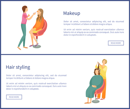 Makeup and hair styling web posters with text. Spa salon visagiste and hairdresser vector. Woman making new hairstyle, wavy locks, face beautification Illustration