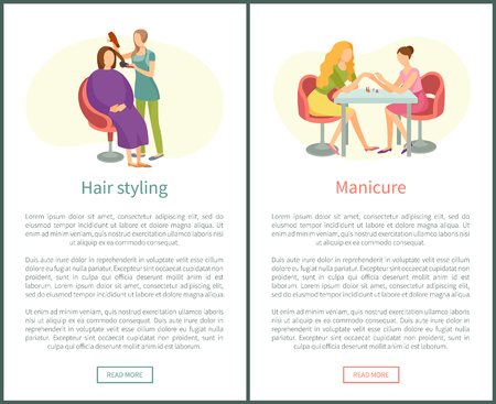 Hair styling and manicure hand treatment, nails polishing in spa salon vector posters. Manicurist and hairdresser, client in chair, beautician professional Ilustração