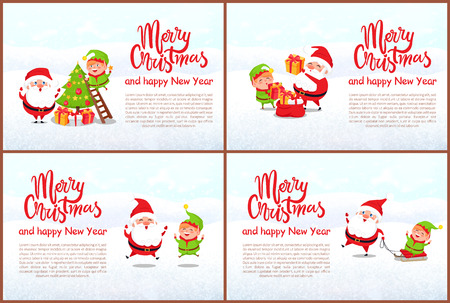 Merry Christmas and Happy New Year greeting card. Santa and elf decorating xmas tree, put presents in sack, jumping of happiness and riding sleigh