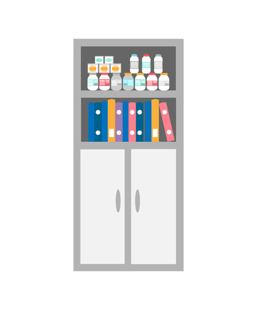 Chest of drawers, bookcase medicaments isolated icon vector. Hall decorative items, collection of bottles with curing pills, pets animals treatment