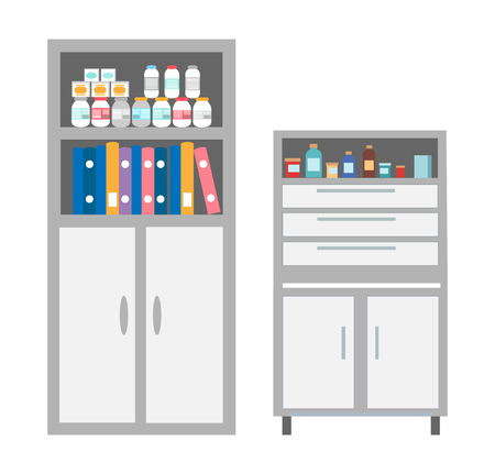 Vet clinic bookcase with files and documents isolated icons vector. Chest of drawers with medications and curing treatment. Bottles with pills tablets Illustration