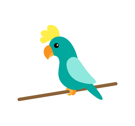 Tropical animal with feathers, bird with plumage vector. Wildlife species, macaw animal sitting on wooden stick. Isolated pet from jungle, parrot
