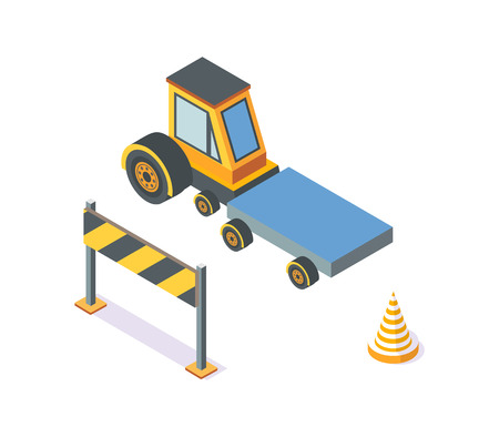Tractor Working Machinery and Road Signs Icons Illustration