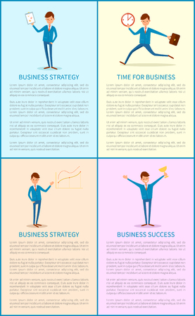 Business  Strategy, Success of Boss Holding Trophy Illustration