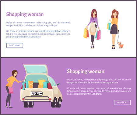 Shopping woman web posters female shopaholic woman with bags and purchases putting into car vector. Woman returning home from shopping center, lady with dog