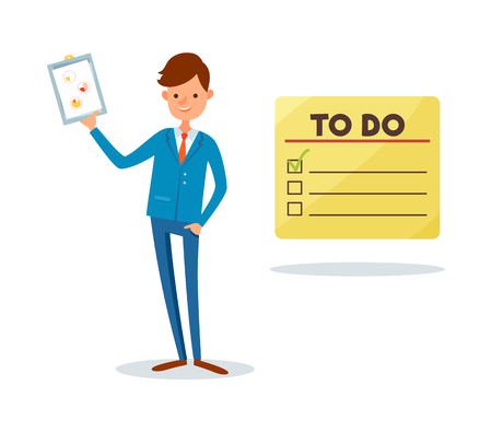 To do list and man showing clipboard page with pie diagram and charts vector. Analyst holding presentation sheet with data, leader with strategy plan Stockfoto - 126251051