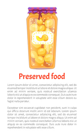 Preserved food peaches compote sweet liquid with fruits. Apricot conserved in jar with sticker and decorative lace. Poster with text sample vector Foto de archivo - 126251052