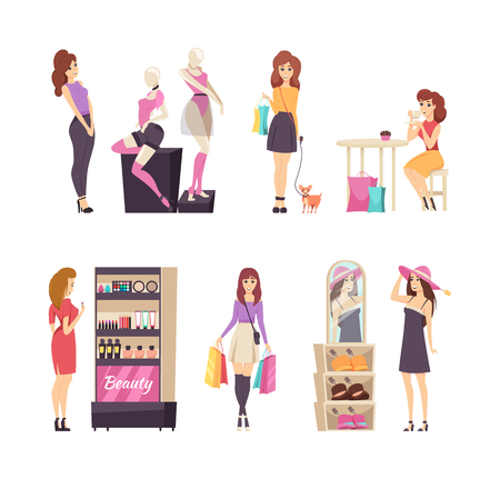 Beauty stand with cosmetics and shopping set vector. Ladies wearing hats and looking at underwear placed on mannequin. Customer with bags walking dog