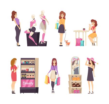 Schönheitsstand mit Kosmetik- und Einkaufssatzvektor. Damen tragen Hüte und betrachten Unterwäsche auf Schaufensterpuppe. Kunde mit Taschen gehender Hund