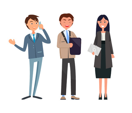 Chief executive, ceo making up strategy of company. Manager male working on tablet gadget. Business meeting, boss holding plan, man and woman vector Ilustrace