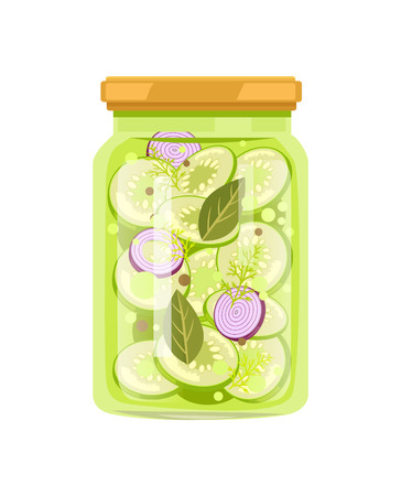 Vinegar pickled vegetable marrow with sliced red onion, bay leaf, dill and pepper condiment. Canned zucchini in big glass jar vector illustration.