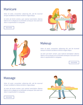 Manicure and makeup visage service posters set with text sample vector. Body wrap and manicurist talking to client woman and polishing nails carefully Vectores