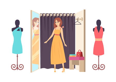 Woman shopping in clothes store ladies shop with changing room vector. Mannequins showcase with dresses, handbag and hanger. Mirror and clothing robe