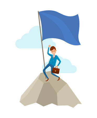 Businessman going to success, climbing up to mountains or rock in sky. Happy manager puts flag on top, vector isolated cartoon character, achieving goal 일러스트