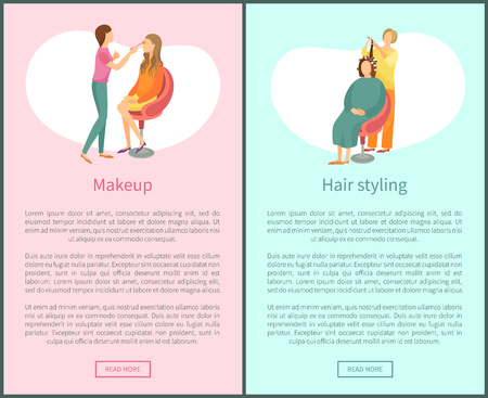 Makeup and hair styling web posters set with text. Spa salon visagiste and hairdresser vector. Woman making new hairstyle, wavy hair, face beautification