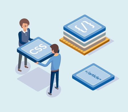 Development of web sites, developers with blocks vector. People carrying css coding, programming and article, optimization of script, secure browsing