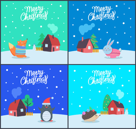 Merry Christmas seasonal winter holiday set of greeting posters vector. Penguin wearing hat of Santa Claus, hedgehog, bunny and fox in knitted sweater