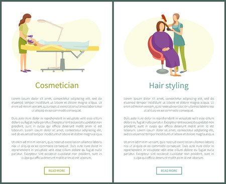 Cosmetician facial cosmetic procedures and hair styling salon vector web posters. Woman cosmetologist taking care about skin, hairdresser with dryer